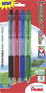 - Assorted Ink Retractable Ballpoint Pens (4-Pack)