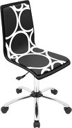 - Printed Circles Wood Office Chair - Black