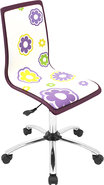 - Printed Daisy Wood Office Chair - Purple
