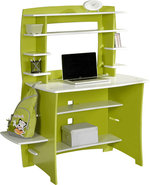 - Asymmetric Computer Desk and Hutch - Lime/White