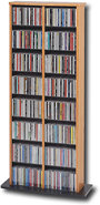 - Double-Tower Multimedia Storage Rack - Oak