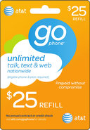 - $25 Prepaid Wireless Airtime Card