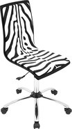 - Printed Zebra Wood Office Chair - Zebra