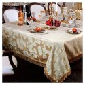 Classic Damask Design Fringes Tablecloth - Color: