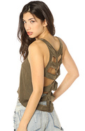 Women's The Sonics Cutout Top in Dusty Army, Tops