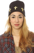 Women's The Cross Beanie in Black & Gold, Hats