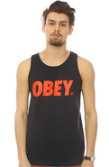 Men's The Obey Font Tank in Navy, Tank Tops