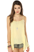 Women's The Lace Insert Swing Cami in Lemon Juice,