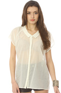 Women&#39;s The Brooke Sheer Blouse in White, Tops (S/