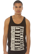 Men's The Rich Advisory Big Tank Top in Black, Tan