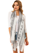 Women's The Graphic Print Scarf in White, Scarves