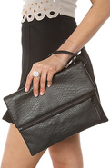 Women's The Python Clutch in Black, Bags (Handbags