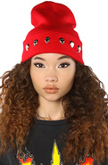 Women's The Skull Beanie in Red, Hats