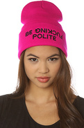 Women's The Polite Beanie in Magenta, Hats