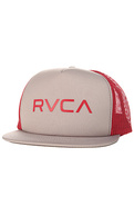 Men&#39;s The RVCA Trucker Hat in Grey and Red, Hats
