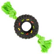 Grreat Choice Small Squeaky Tire with Rope Dog Toy
