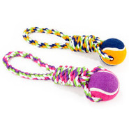 ToyShoppe Single Rope Loop with Tennis Ball Tug Do