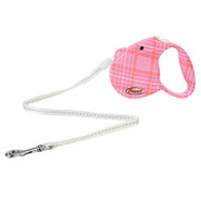 Flexi Fashion Cord Style Retractable Pink Checkere