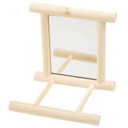Wooden Bird Perch with Mirror