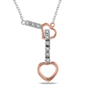 Miadora Two-tone Silver Diamond Heart Necklace (H-