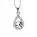 Rhodium Crystal &amp;apos;Crystal Tear&amp;apos; Pendant (