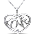 "Miadora Sterling Silver ""LOVE"" Diamond H"