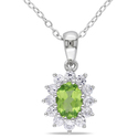 Miadora Sterling Silver Peridot and Created White