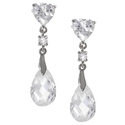 Tressa Sterling Silver CZ Heart Drop Earrings