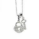 Rhodium Crystal &amp;apos;Heart Lock&amp;apos; Pendant (Th