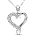 Miadora Sterling Silver Diamond Heart Necklace (H-