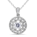 Miadora Sterling Silver White Sapphire and Diamond