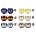 DaVonna High-luster Freshwater Pearl Stud Earrings