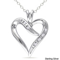 Miadora Sterling Silver White Diamond Heart Pendan
