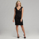London Times Women's Solid Ponte/Lave Dress