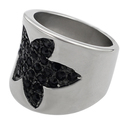 Journee Collection Stainless Steel Black CZ Maple 
