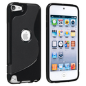 Black S Shape TPU Rubber Case for Apple iPod Touch