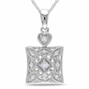 Miadora Sterling Silver 1/10ct TDW Diamond Necklac