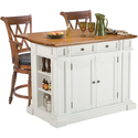 White/ Oak Kitchen Island and Two Deluxe Bar Stool