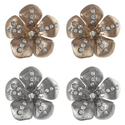 Journee Collection Steel CZ Vintage Flower Earring