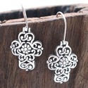 Filigree Swirl Cross Flower Sterling Silver Earrin