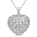Miadora Sterling Silver 1ct TDW Diamond Heart Neck