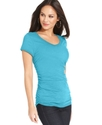 Petite Top, Short-Sleeve Ruched Tee