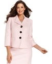 Plus Size Jacket, Three-Quarter-Sleeve Textured Bl