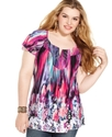 Plus Size Top, Short-Sleeve Printed Rhinestone