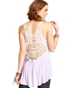 Juniors Top, Sleeveless Crochet-Knit High-Low