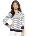 Lauren Jeans Co. Top, Zippered Striped Crew-Neck