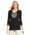 Top, Three-Quarter-Sleeve Beaded Tunic