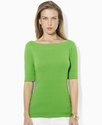 Petite Top, Three-Quarter-Sleeve Boat-Neck Tee