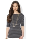 Petite Top, Three-Quarter-Sleeve Striped