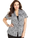 Plus Size Top, Short-Sleeve Printed Layered-Look